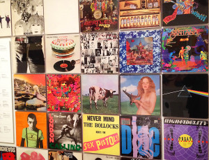 A wall of classic vinyl album covers at MoMA.